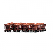 Athearn RND87148 HO - 24Ft Ribbed Ore Car w/Load - Canadian National (4 pkg) #1