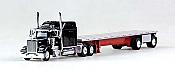 Trucks N Stuff 18TNS010 HO Peterbilt Sleeper With Flatbed Black