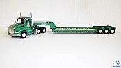 Trucks n Stuff TNS087 HO Peterbilt 579 Sleeper-Cab Tractor w/ 3-Axle Lowboy Trailer-Granite Construction (green)