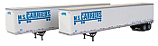 Walthers SceneMaster 2463 - HO 53ft Stoughton Trailer - MS Carriers (2/pk)