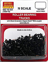 MicroTrains 310031 - N scale Roller Bearing Trucks w/Short Extended Couplers (10pcs)