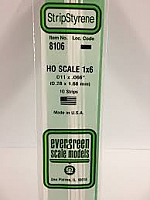 Evergreen Scale Models 8106 - Opaque White Polystyrene HO Scale Strips (1x6) .011In x .066In x 14In (10 pcs pkg)