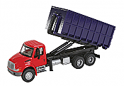 Walthers SceneMaster - International 4300 3 Axle Dumpster Carrier Truck Red Cab, Blue Dumpster