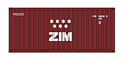Intermountain HO 30054-1 A-Line, 20' Corrugated Containers with Corrugated Doors,  ZIM ZIMU #s 100590, 108906