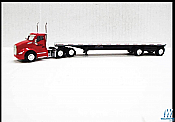 Trucks n Stuff TNS060 HO Kenworth T680 DayCab Tractor with Flatbed Trailer Assembled Lonestar (red,silver,black)