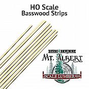 Mt. Albert Scale Lumber 132 - HO 12 Inch Basswood Strips - 8 x 8 - (10/pkg)