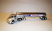 Trucks n Stuff TNS098 HO Kenworth T680 Day-Cab Tractor with Gas Tank Trailer - Assembled -- ARCO (silver, blue, white, red, chrome)