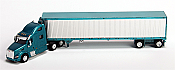 Trucks n Stuff American Tractor/Trailer Peterbilt T700 Day Cab w/53 Ft Reefer Van Trailer (Turquoise, Chrome Trailer)