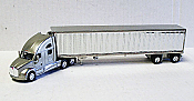 Trucks n Stuff American Tractor/Trailer Kenworth T700 Day Cab w/53 Ft Reefer Van Trailer (Silver, Chrome Trailer)