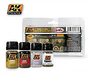 AK Interactive 77 Heavy Muddy Set  - 4 Bottles - 35ml each  plus 1 Plaster Powder Set