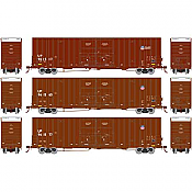 Athearn 75129 HO Scale - RTR 60Ft DD Hi-Cube Box - UP/Building America (3 pack)