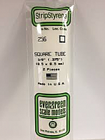 Evergreen Scale Models 256 - Opaque White Polystyrene Square Tubing .375In x 14In (2 pcs pkg)
