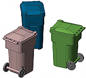 Hi-Tech Details 8006 HO 96-Gallon Wheeled Trash & Recycling Bin - Kit - Green pkg(6)