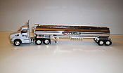 Trucks n Stuff TNS097 HO Peterbilt 579 Day-Cab Tractor with Gas Tank Trailer - Assembled -- S.C. Fuels (white, red, chrome)