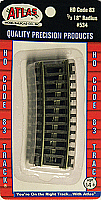Atlas Model Railroad 534 HO Code 83 Snap Track - 1/3 - 18 Inches Radius Curve - package of 4
