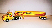 Trucks n Stuff TNS133 - HO Peterbilt 579 Day-Cab Tractor with Propane Tank Trailer - Assembled -- Loves (yellow, red, black)