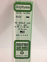 Evergreen Scale Models 8102 - Opaque White Polystyrene HO Scale Strips (1x2) .011In x .022In x 14In (10 pcs pkg)