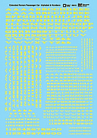 Microscale 90016 HO Scale - Alphabets - Extended Railroad Roman - Yellow - Waterslide Decal