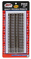 Atlas Model Railroad 521 HO Code 83 Snap Track - 6 Inches Straight - 4 pcs in blister package