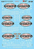Microscale Decal Set - New York Central - NYC  - 40' & 50' Jade Green Box Cars 1960-68