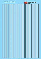 Microscale 91115 HO Scale - Stripes - 1 and 2 inch widths - Red - Waterslide Decal