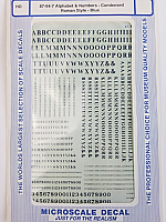 Microscale 94-7 HO Scale - Alphabets & Numbers - Condensed Roman Style - Blue - Waterslide Decal