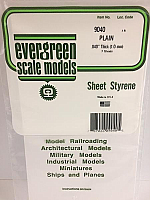 Evergreen Scale Models 9040 - .040in Plain Opaque White Polystyrene Sheet (2 Sheets)