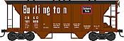Bowser HO 42205 70-Ton 2-Bay Coverde Hopper with Open Sides - Burlington CB&Q 181766