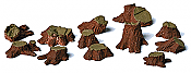 Model Railstuff 002 HO Scale - Tree Stumps (One-Piece, Painted Plaster Castings) - Assorted Sizes