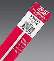 K&S Engineering 83043 All Scale - 12inch Long Round Aluminum Rod - 1/8 inch Diameter