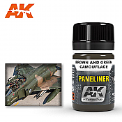 AK Interactive 2071 Air Series Paneliner Brown and Green Camouflage  Enamel Paint 35ml