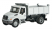 Walthers 11635 HO SceneMaster International(R) 4300 Single-Axle Dump Truck - Assembled - White Cab, Silver Dump Box