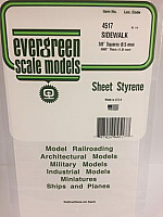 Evergreen Scale Models 4517 - 3/8in x 3/8in Opaque White Polystyrene Sidewalk (1 Sheet)