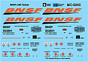 Microscale Decals MC-5040 HO BNSF LNG Tanker