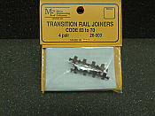 Micro Engineering HO Scale Plastic-Insulated Transition Rail Joiners pkg(8) -- Code 83 to 70
