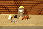 Bachmann 33107 HO Cats with Garbage Can - 6 pcs