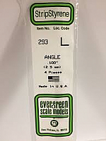 Evergreen Scale Models 293 - Opaque White Polystyrene Angle .100In x 14In (4 pcs pkg)