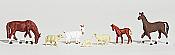 Woodland Scenics 1844 - HO Scenic Accent - Livestock (1 Goat, 2 Horses, 1 Colt, 2 Sheep, 1 Lamb)