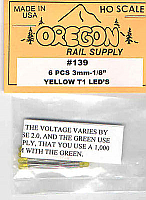Oregon Rail Supply 3mm 1/8 Yellow LEDS 6 Pack No.139