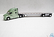Trucks n Stuff TNS061 HO Kenworth T680 Sleeper Cab Tractor with Flatbed Trailer Assembled Central Oregon Truck(light green,silver)