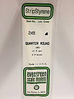 Evergreen Scale Models 249 - Opaque White Polystyrene Quarter Round .08In x 14In (3 pcs pkg)