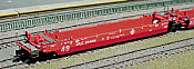 Deluxe Innovations 210801 N Scale - Maxi-Stack III 5-Unit Intermodal Well Car - Atchison, Topeka & Santa Fe  Set 1 (red)  48 FT Well