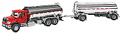 Walthers SceneMaster - International 7600 3-Axle Tank Truck with Tank Trailer - Red Cab