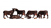 Woodland Scenics 1955 - HO Scenic Accents(R) - Animal Figurines - Black Angus Cows (6/pkg)