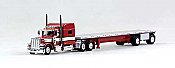 Trucks N Stuff 18TNS002 HO Peterbilt Sleeper With Flatbed Red With White Stripe