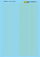 Microscale 91113 HO Scale - Stripes - 1 and 2 inch widths - Gold - Waterslide Decal