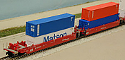 Deluxe Innovations 211011 N Scale - Maxi-Stack III 5-Unit Intermodal Well Car - Southern Pacific Set 2 (red) - 48 FT Well