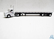 Trucks n Stuff TNS081 Kenworth T680 Daycab Tractor with Flatbed Trailer Assembled Cardinal Logistics (white, black, silver)