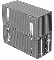 A- Line 25510 HO 20 Ft Corrugated Containers - Undecorated 2-Logo Panel Sides/Corrugated Doors pkg(2)