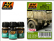 AK Interactive 61  Mud Effects Enamel Paint Set (16, 17, 23)